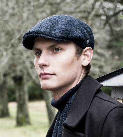 CTH Edward Sr Harris tweed blue cap in the group Men / Headwear / Flat caps at Sivletto - Skylark AB (w12095)