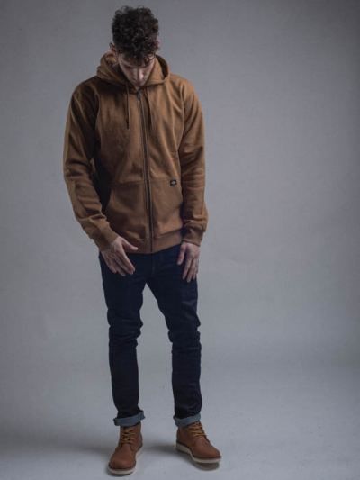 Dickies Kingsley Zip Hoody Brown Duck in the group Clearance / Men / Sweaters at Sivletto - Skylark AB (w12180)