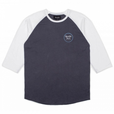 Brixton Wheeler 3/4 Blue/White in the group Clearance / Men / T-shirts at Sivletto - Skylark AB (w12202)