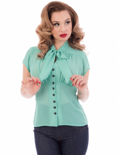Steady Harlow chiffon tie top mint in the group Clearance / Women / Tops etc at Sivletto - Skylark AB (w12273)