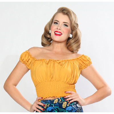 Bettie Page La Fiesta top mustard in the group Clearance / Women / Tops etc at Sivletto - Skylark AB (w12276)