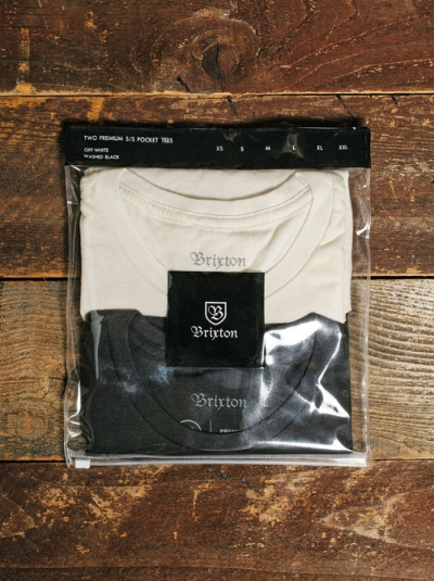 Brixton Vital 2pack S/S Pocket Tee Off White/Washed Black in the group Clearance / Men / T-shirts at Sivletto - Skylark AB (w12396)