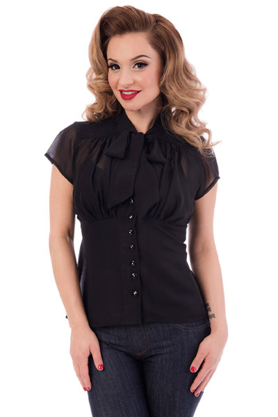 Steady Harlow chiffon tie top black in the group Sale! / Women / Tops, jackets etc at Sivletto - Skylark AB (w12498)