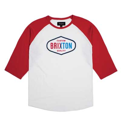 Brixton Oakland 3/4 tee white/red in the group Clearance / Men / T-shirts at Sivletto - Skylark AB (w12824)
