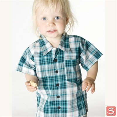 Baby checked shirt turqoise in the group Clearance / Kids at Sivletto (w1914)