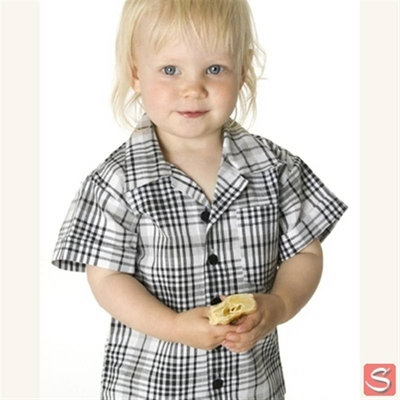 Baby checked shirt black in the group Clearance / Kids at Sivletto (w1915)