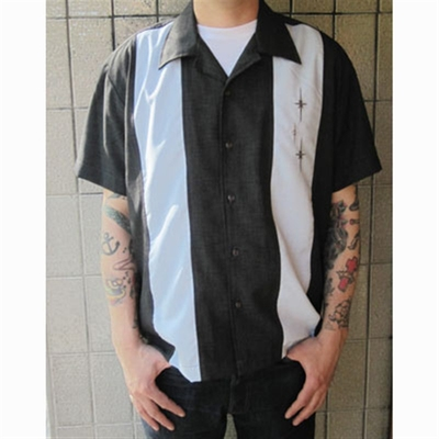 Steady Clothing 3 Star Panel Charcoal/Blue shirt in the group Men / Shirts, short sleeve at Sivletto (w5051)