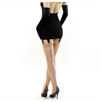 What Katie Did Contrast seamed stockings champagne/black in the group Women / Undergarments at Sivletto (w5249)