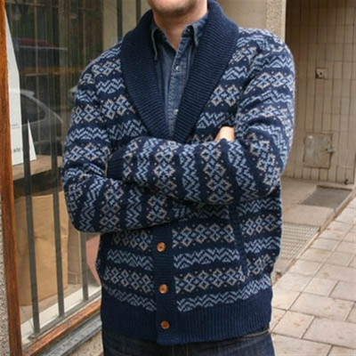 Wrangler Cardigan Jaquard Mood Indigo in the group Men / Sweaters at Sivletto (w6054)