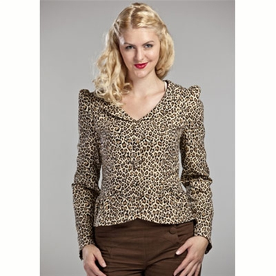 Emmy Design Curvy Ruffle Jacket Leopard in the group Clearance / Women / Tops etc at Sivletto (w6064)