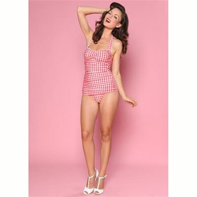 Esther Williams Classic sheath gingham red/white in the group Women / Beach and play at Sivletto (w6685)