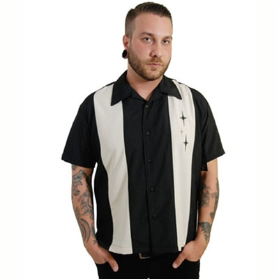 Steady Clothing 3 Star Panel Black/white shirt in the group Men / Shirts, short sleeve at Sivletto (w8289)