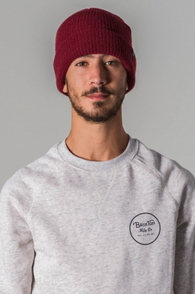 Brixton Heist Burgundy beanie in the group Men / Headwear / Beanies at Sivletto - Skylark AB (w8562)