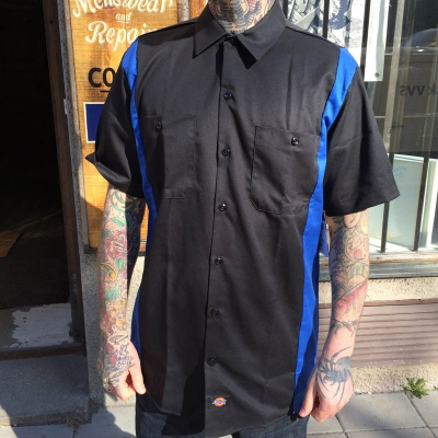 Dickies S/S Two tone Black/Royal Blue in the group Men / Shirts, short sleeve at Sivletto (w8589)