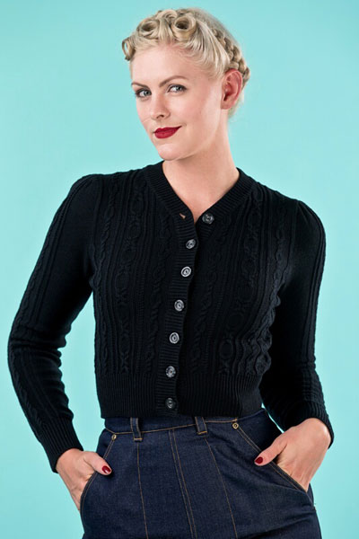 Emmy Design Ice Skater Cardigan Black in the group Women / Sweaters and cardigans at Sivletto (w8811)