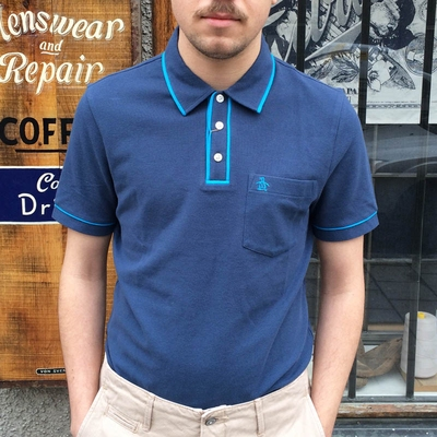 Penguin Earl Dark Denim in the group Men / Shirts, short sleeve at Sivletto (w8986)