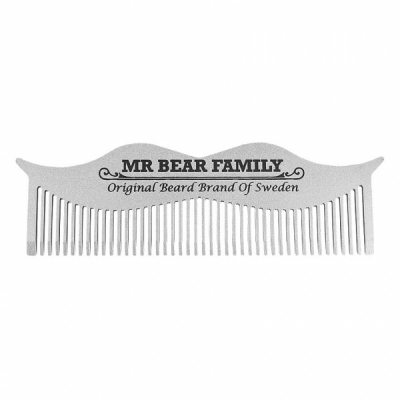 Mr Bear Family Mustache Steel Comb in the group Hair and skincare / Combs at Sivletto - Skylark AB (w8993)