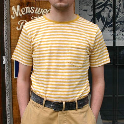 Armor-Lux Striped yellow linen t-shirt in the group Men / T-shirts at Sivletto (w9041)
