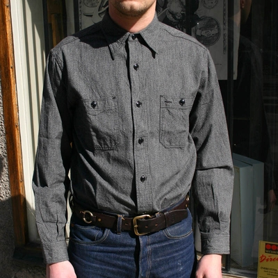 Buzz Rickson's Mock-Twist Chambray Shirt Black in the group Unionville / Long sleeve at Sivletto (w9343)