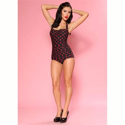 Esther Williams Classic sheath polka dot black/red in the group Women / Beach and play at Sivletto (w9426)