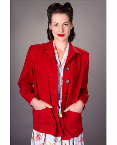 The Seamstress of Bloomsbury Pearl jacket red wool in the group Women / Coats and jackets at Sivletto (w9763)