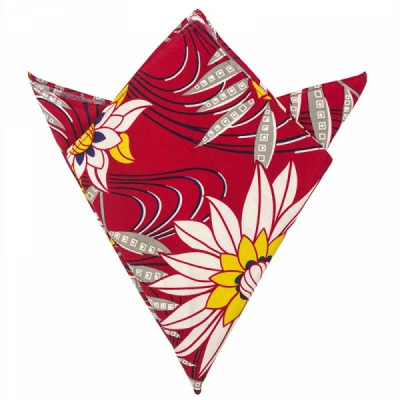 Trashy Diva Pocket Square Red Waterlilies in the group Clearance / Men / Misc at Sivletto (w9885)