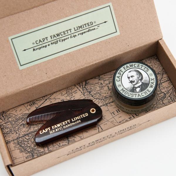 Captain Fawcett - Captain Fawcett's Ylang Ylang Moustache Wax & Folding  Pocket Moustache Comb