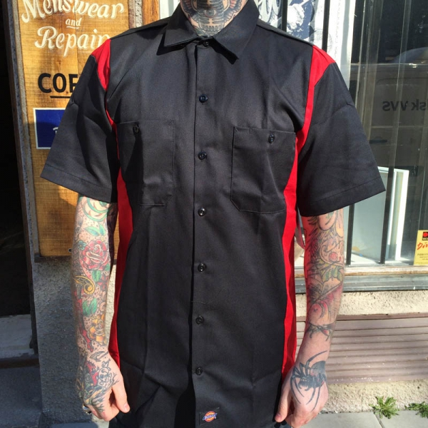 Dickies s s two tone black red shirt sivletto for Design a work shirt