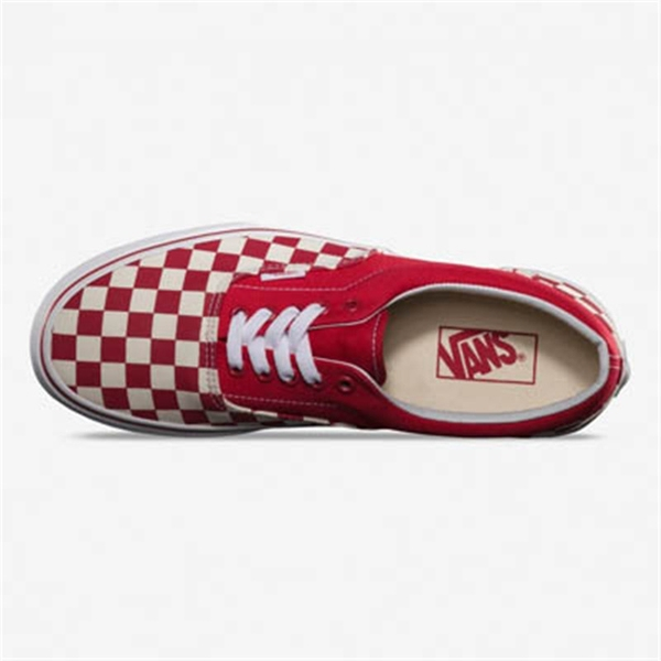 maroon vans era checkerboard